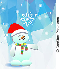 Snowman and a snowflake on the background of blue sky