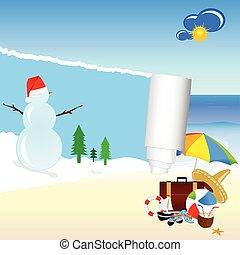 snowman and beach stuff vector