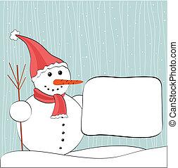 snowman and billboard