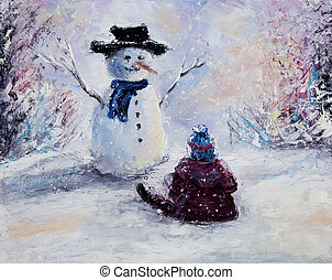 Snowman and child - Original abstract oil painting of ...