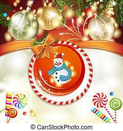 Snowman and Christmas ball