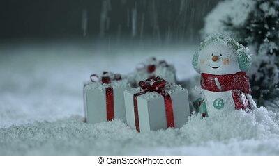 Snowman and christmas gifts under snow - Snowman fir tree...