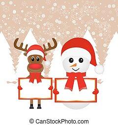 Snowman and Christmas reindeer