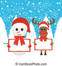 Snowman and Christmas reindeer