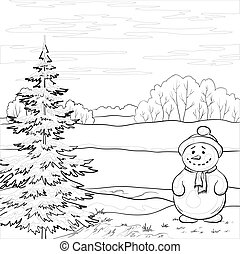 Snowman and Christmas tree, contours - Snowman and Christmas...