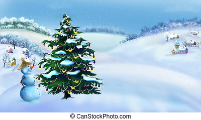 Snowman and Christmas Tree in a Wonderful Winter Day