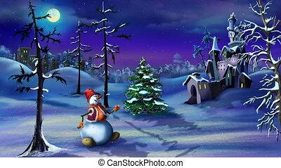 Snowman and Christmas Tree near a Magic Castle
