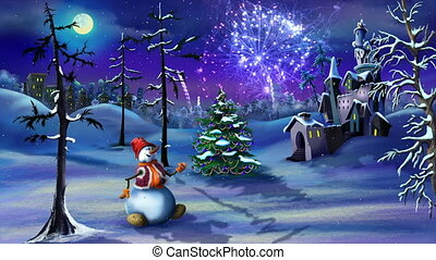 Snowman and Christmas Tree near a Magic Castle in a Fairy tale New Year night with fireworks on background. Handmade animation in classic cartoon style.
