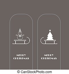 snowman and Christmas tree vector icons