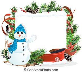 Snowman and Christmas wreath - Snowman on Skis and Christmas...