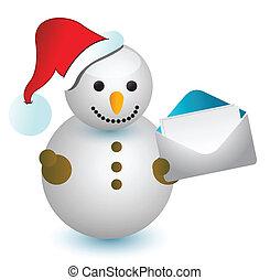 Snowman and envelope illustration