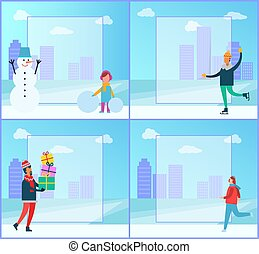 Snowman and Girl Collection Vector Illustration