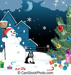 snowman and lonely cat