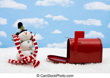 Snowman and Mailbox - Red mailbox with the flag up sitting ...