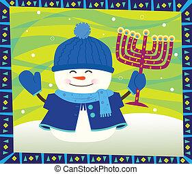 Snowman and Menorah - Cute snowman is holding a menorah and...