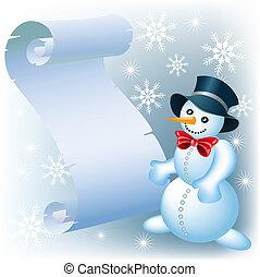 Snowman and parchment