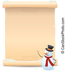 Snowman And Parchment Sign