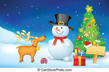 Snowman and Reindeer in Christmas Night