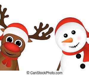 Snowman and Reindeer peeking sideways on a white background