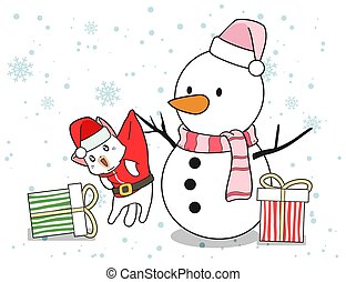 Snowman and Santa cat characters with gifts in Christmas day