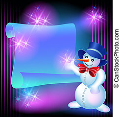 Snowman and scroll for text
