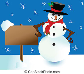 snowman and signboard