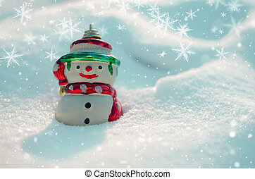 Snowman and snowflakes on snow background.