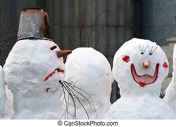Snowman and snowwoman - Snowballs-traditional a winter...