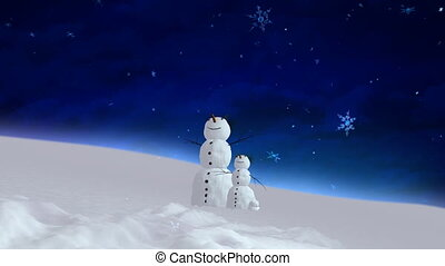 snowman and son blue sky wide