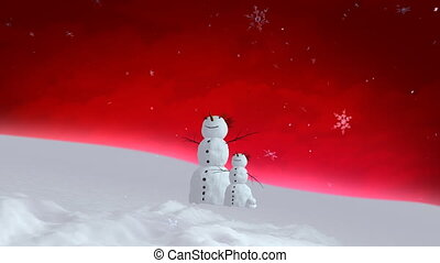snowman and son red sky wide