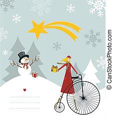 Snowman and star of Bethlehem card.
