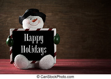 snowman and text happy holidays
