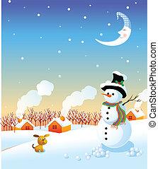 snowman and winter landscape