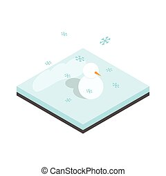 Snowman and winter landscape icon