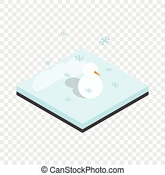 Snowman and winter landscape isometric icon