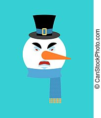 Snowman angry emotion avatar. Snowman evil emoji face. New Year and Christmas vector illustration