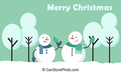 Snowman animation motion in the hill. Merry Christmas...