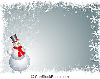 Snowman on a snowy background