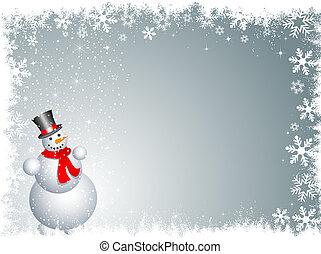 snowman background - Snowman on a snowy background