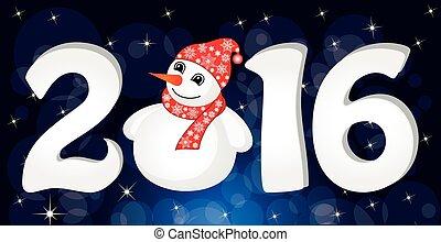 snowman, banner., idea, ilustración, saludo, vector, santa, ...