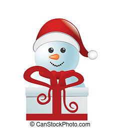 snowman behind gift box white isola