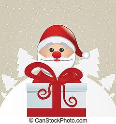 snowman behind gift box white winte