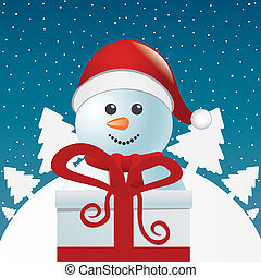 snowman behind gift box