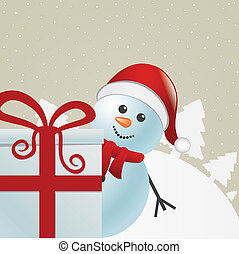 snowman behind gift box winter