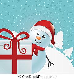 snowman behind gift white winter landscape