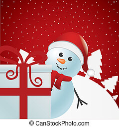 snowman behind gift white winter - snowman behind gift box...