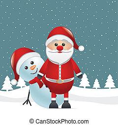 snowman behind santa claus winter landscape