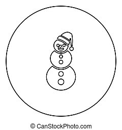 Snowman black icon outline in circle image