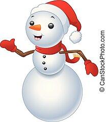 snowman, blanco, aislado, plano de fondo, navidad