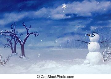 snowman blue sky ntsc